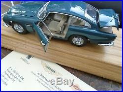 Aston Martin DB5 by Danbury Mint 124 Scale Ltd Ed Aegean Blue Model +COA++