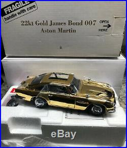 Danbury Mint 22 K Gold James Bond 007 Aston Martin 124 Scale RARE